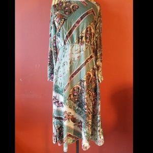 NEW ZARA GREEN VELVET FLORAL PAISLEY PRINTED DRESS